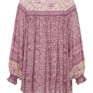 Spell & The Gypsy Collective Tops - SPELL DAHLIA GOLD LUREX THREADED FINE BLOUSE S